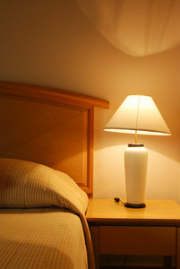 Hotel bedroom interior detail background