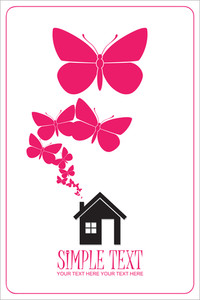 House And Butterflies Instead Of Smoke Rising From The Chimney Abstract Vector Illustration.
