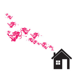 House And Cupids Instead Of Smoke Rising From The Chimney. Abstract Vector Illustration.