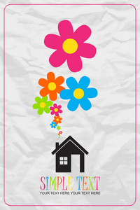 House And Flowers Instead Of Smoke Rising From The Chimney On A Paper-background. Abstract Vector Illustration.
