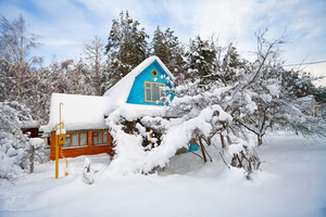 House and garden covered with snow