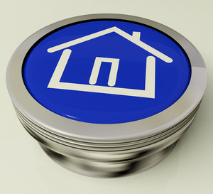 House Or Home Icon Metallic Button For Real Estate