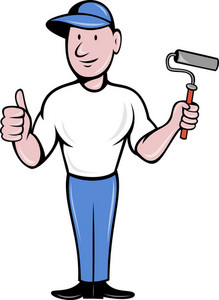 House Painter With Painting Roller Thumbs Up