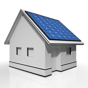 House With Solar Panels Shows Sun Electricity