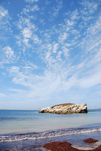 Huge Rock At Baleal Beach (dramatic Cloudscape)