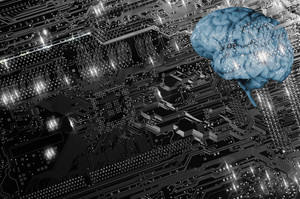 human brain, circuit-board and communication