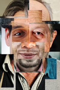 Human face made of several different people, artistic concept collage