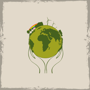Human Hand Holding Earth For Save The Earth Concept