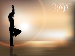 Human Silhouette In Yoga Posture On Nature Background