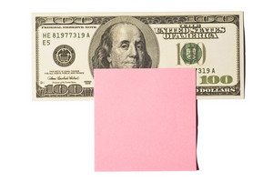 Hundred Dollar Bill With Pink Postit Note