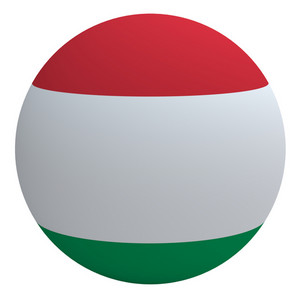 Hungary Flag On The Ball Isolated On White.