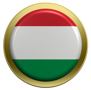 Hungary Flag On The Round Button Isolated On White.