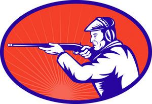 Hunter Aiming A Shotgun Rifle Side