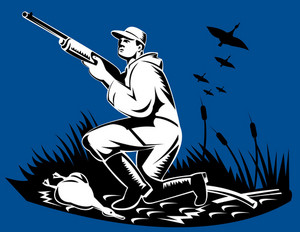 Hunter Aiming Shotgun Rifle At Duck