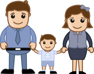 Husband, Wife And Child - Vector Cartoon Character Family Illustration