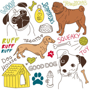 I Love Dogs! Vector Doodles Set-