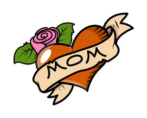 I Love Mom Retro Tattoo Vector Illustration