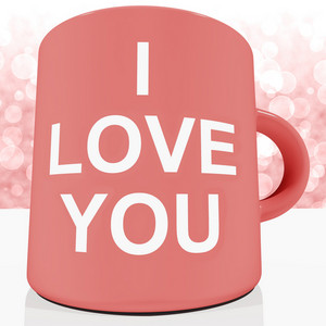 I Love You Mug With Bokeh Background Showing Romance And Valentines