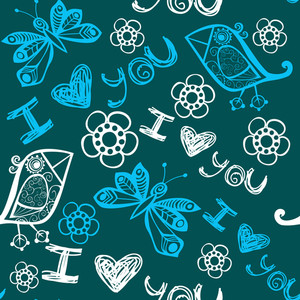 I Love You Seamless Pattern With Butterflies And Birds In Pink