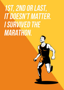 I Survived Marathon Runner Retro Poster