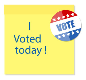 I Voted Today Written On Sticky Note With A Glossy Badge Vector