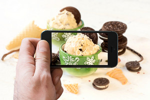 Ice Cream With Cookies Photographing