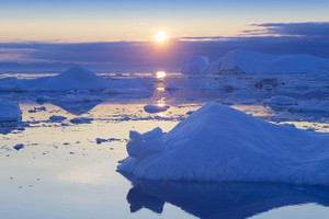 Ice floe during a golden sunrise