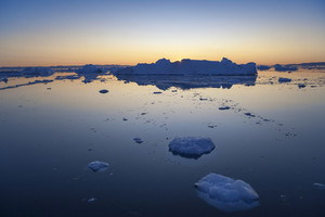 Ice floes at dusk