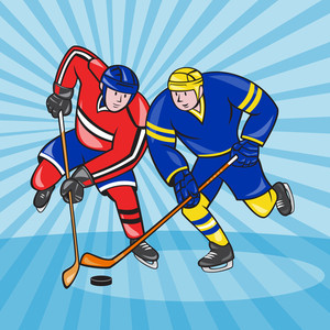 Ice Hockey Player Front With Stick Retro