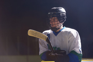 Ice hockey player portrait