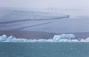 Ice slabs along a frozen coast
