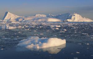 Iceberg and floating chunks of ice