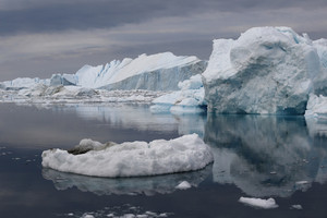 Icebergs and ice floes under a grey sky