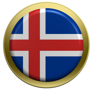 Iceland Flag On The Round Button Isolated On White.