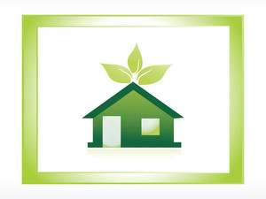 Icon Green House With Leaves