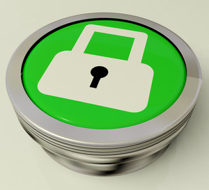 Icon Or Button Showing Padlock For Security Or Access
