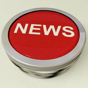 Icon Or Metallic Button Showing The Text News For Information Or Media