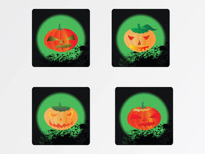 Icons Pumpkins With Different Expressions