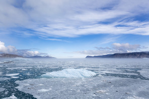 Icy waters and ice floe along the coast