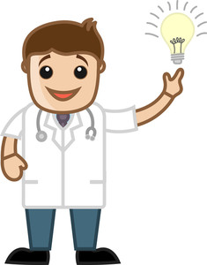 Idea Bulb - Doctor - Office Cartoon Characters