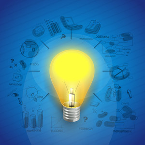 Idea concept with creative illustration of a light bulb and various infographic elements on blue background.