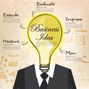 Idea concept with illustration of a business man with light bulb head on grungy background.