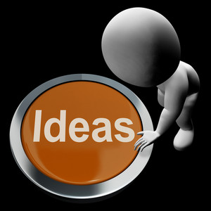 Ideas Button Means Improvement Concept Or Creativity