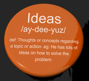 Ideas Definition Button Showing Creative Thoughts Invention And Improvement