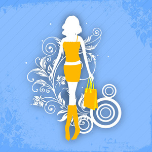 Illustartion Of A Young Fashionable Girl With Shopping Bags On Floral Decorated Blue Background