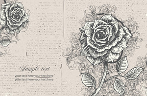 Illustrated Floral Card With Rose Vector Illustration