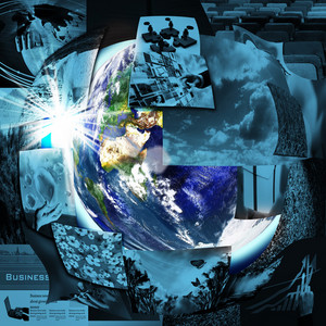 Illustrated Montage Of The Earth With A Global Network