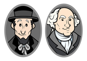 Illustrated Vector Portrait Of George Washington And Lincoln