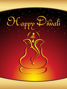 Illustration Gretting Card For Diwali