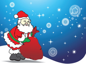 Illustration Happy Santa With His Gift Bag